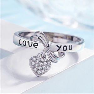 """New .925 Silver Dangle """"I Love You"""" Ring Size 7"""